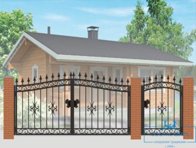 Кованые ворота для дачи №10