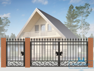 Кованые ворота для дачи №11