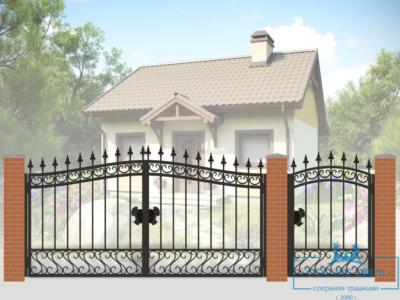 Кованые ворота для дачи №12