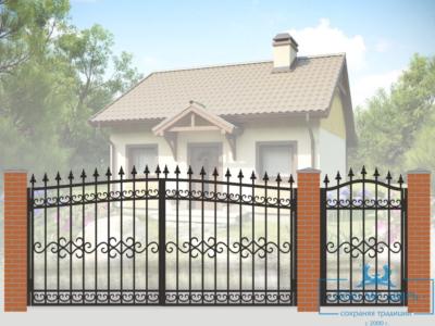 Кованые ворота для дачи №14