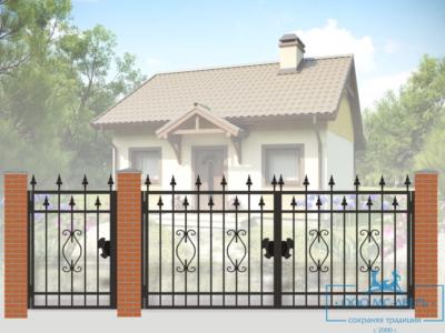 Кованые ворота для дачи №16