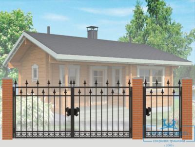 Кованые ворота для дачи №17