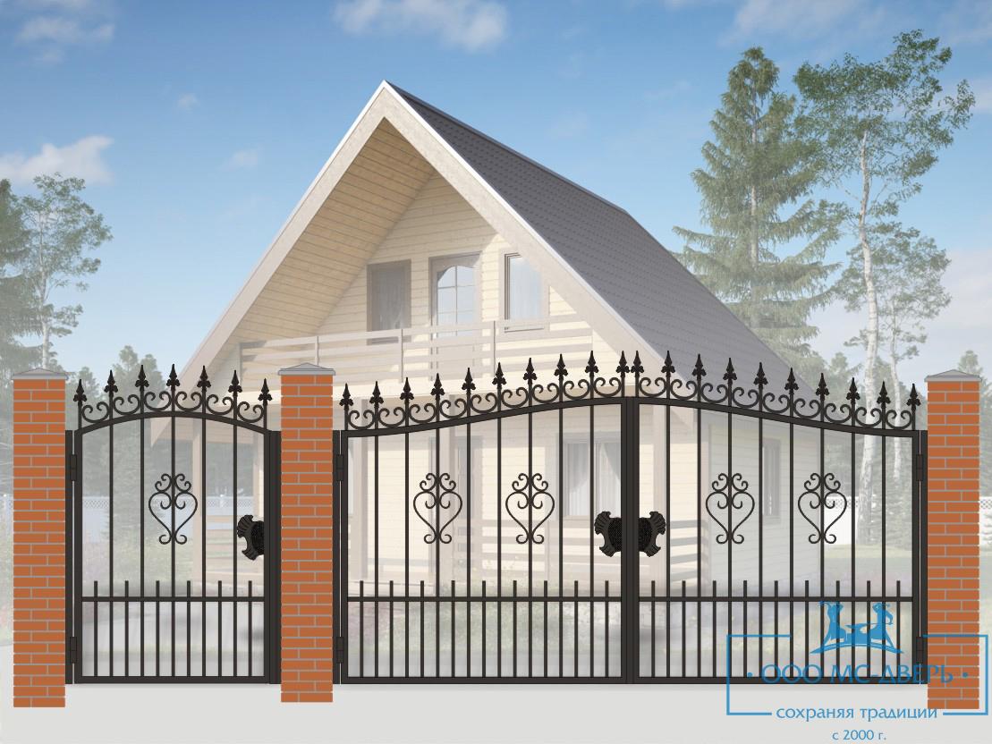 Кованые ворота для дачи №18