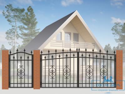 Кованые ворота для дачи №19