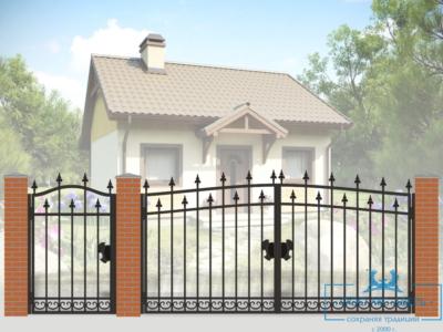 Кованые ворота для дачи №21