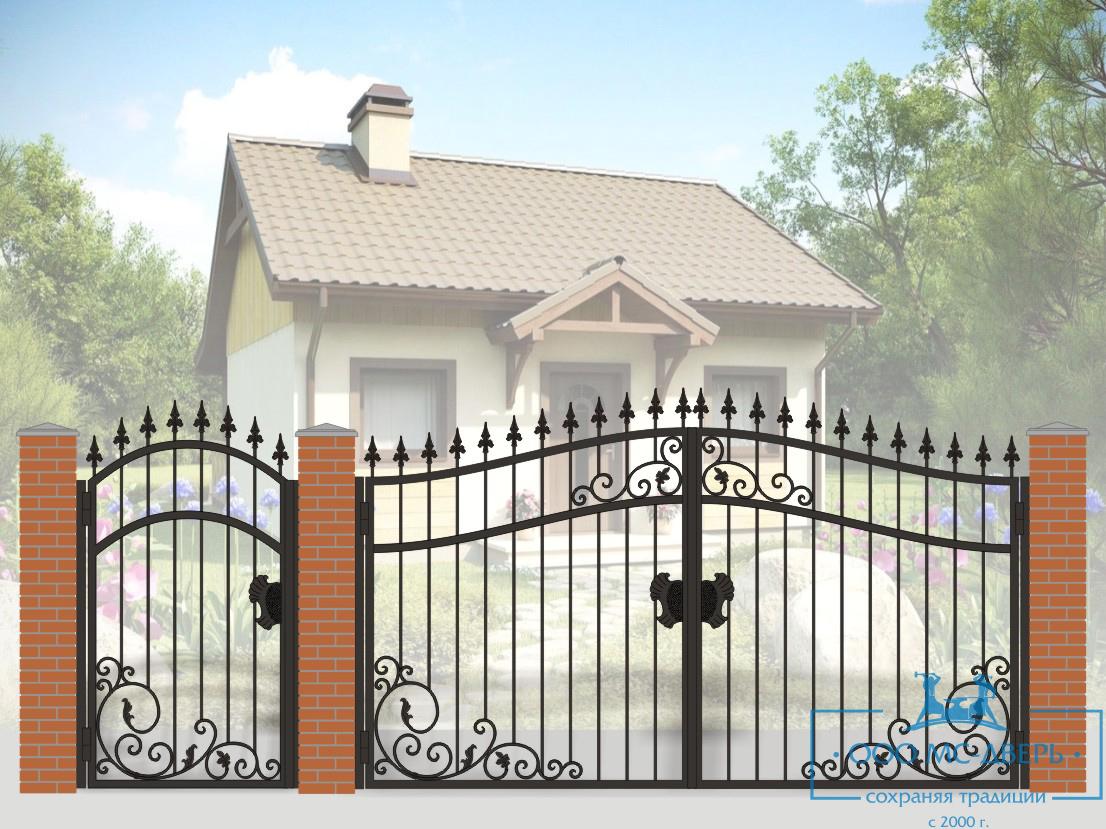 Кованые ворота для дачи №22