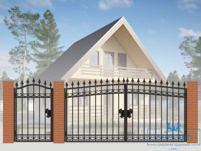 Кованые ворота для дачи №23