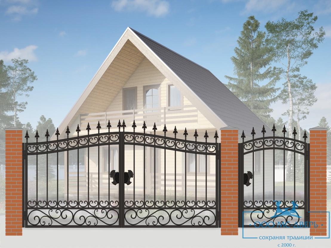 Кованые ворота для дачи №26