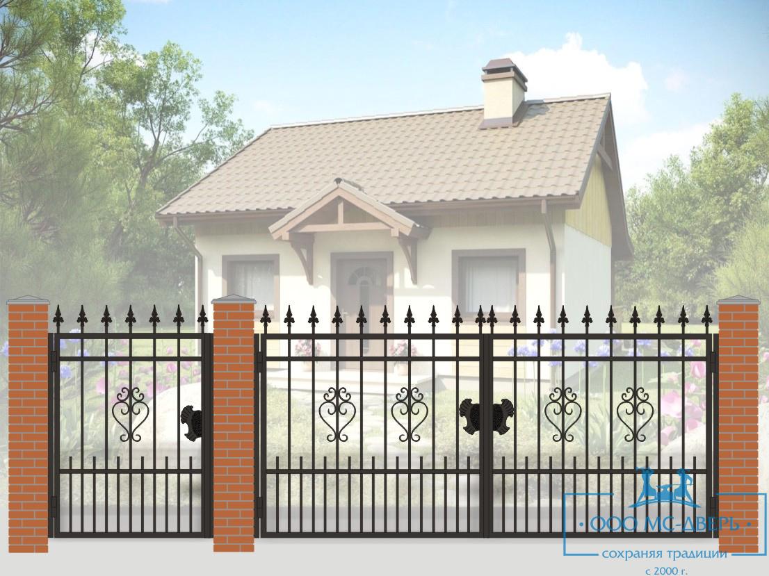 Кованые ворота для дачи №27