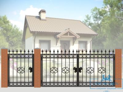 Кованые ворота для дачи №3