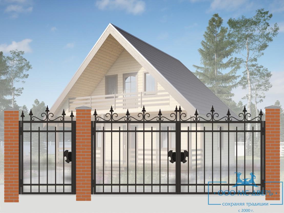 Кованые ворота для дачи №30