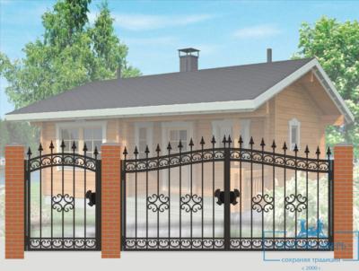 Кованые ворота для дачи №4
