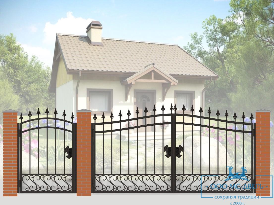 Кованые ворота для дачи №5