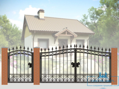 Кованые ворота для дачи №7