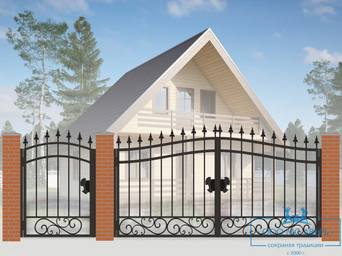 Кованые ворота для дачи №8